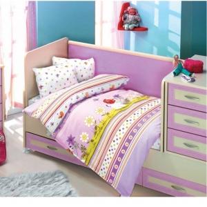 Детский постельный комплект Altinbasak сатин Gulucuk lila 100х150