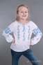 Вышиванка для девочки Роза рушнык, голубая вышивка 4009