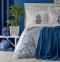 Постельное белье с пледом ТМ Karaca Home Paula indigo 2019-1 евро-размер