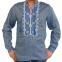 Вышиванка мужская джинс с сине-белой вышивкой 2004.1