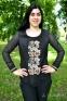 Вышиванка женская Миргород рельеф с гипюровым рукавом бежевая вышивка 1025.1