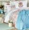 Постельное белье с пледом ТМ Karaca Home Diandra Turkuaz евро-размер