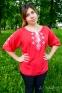 Вышитая блуза женская штапель красная с белой вышивкой 1022